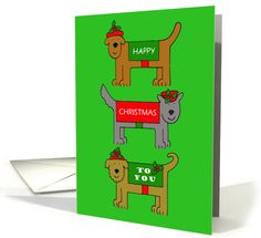 Happy Christmas cartoon dogs in outfits. card
