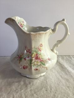 Turn of the Century Anchor Pottery / Shabby Chic Floral Pitcher / Trenton USA by SunshineVintageGoods on Etsy