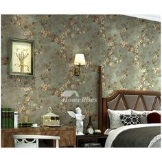 Floral Wallpaper Vintage Non Woven Fabric Home Art Decor Living Room