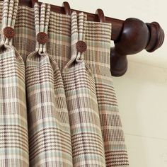 Three finger pinch pleat. Hermes Plaid Curtain Panel. Love those buttons