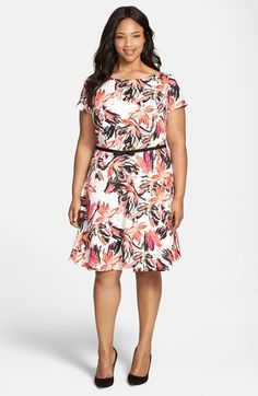 Plus Size Gabby Skye Floral Print Scuba Fit & Flare Dress (Plus Size)