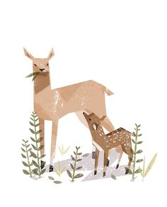 deer and fawn Ella Bailey Illustration Art And Illustration, Illustration Inspiration, Illustrations And Posters, Graphic Design Illustration, Oh Deer, Baby Deer, Grafik Design, Animation, Bambi