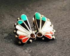 """sugardrawers.etsy.com ✨Just listed... Vintage Zuni Sterling Silver Inlay """"Butterfly Wing"""" Pierced Earrings 😘"""
