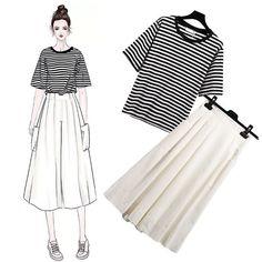 Drawing girl sketches dress 34 new Ideas Korean Street Fashion, Korea Fashion, Asian Fashion, Daily Fashion, Modest Fashion, Girl Fashion, Fashion Dresses, Fashion Design Drawings, Fashion Sketches