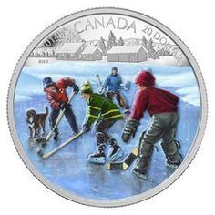 Hockey with friends on a frozen Canadian pond is nostalgia worthy of this 1 oz silver coin enhanced with Winter's blue ice and an array of colorful cozy hats and jackets. Canadian Things, Canadian Winter, Gold And Silver Coins, Mint Coins, Canadian History, O Canada, Proof Coins, Gold Bullion, World Coins