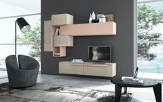 furniture, Modern Wall Units Design With Tv Cabinet Design Ideas With Floor Lamp And Grey Rug With Marble Floor And Round Table Design And Interior Furniture Ideas: Modern Living Room Wall Units Design Ideas Living Room Stands, Living Room Wall Units, Bookshelves In Living Room, Living Room Storage, Living Room Modern, Living Room Interior, Living Room Furniture, Living Room Designs, Modern Tv Wall