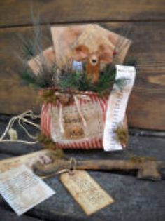Primitive folk Art Pattern Santa's Mail Bag Letters to Santa,Mouse and key LOOK