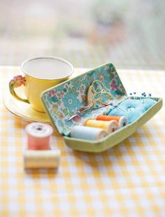 a handy, compact sewing kit - perfect for slipping in your bag when you're out and about...     You will need    old glasses case  30...