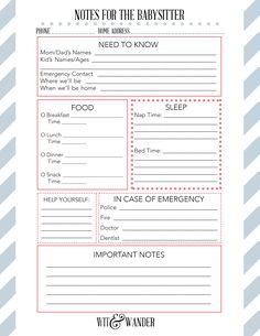 Download a Free Notes to the Babysitter Printable and put together a Babysitter's Box that will help you feel better about leaving the house.