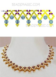 seed bead necklace patterns for beginners Seed Bead Patterns, Beaded Bracelet Patterns, Loom Patterns, Diy Necklace Patterns, Beading Patterns Free, Necklace Designs, Bead Jewellery, Jewelry Making Beads, Beading Jewelry