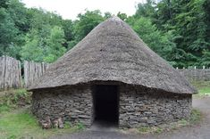 Celtic hut at the Museum of Welsh Life: The picturesque and historic Welsh village of Meliden  Denbighshire, North Wales, United Kingdom