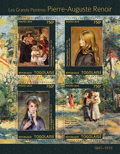 "Pierre-Auguste Renoir (""The Family of the Artist"" ""The Ingenue"" ""A Garden in Montmartre"" Pierre Auguste Renoir, Stamp World, Love Stamps, Post Impressionism, Claude Monet, Mail Art, Stamp Collecting, Postage Stamps, Portraits"