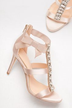 Embellished T-Strap Heels with Grosgrain Bow By Jewel Badgley Mischka available at David's Bridal