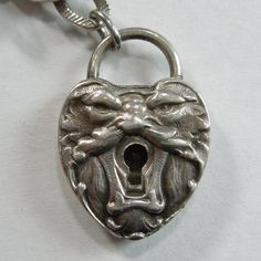 Victorian Sterling Silver Repousse Puffy Heart Padlock ~ North Wind Lock