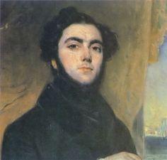 """Eugene Sue, einer der meistgelesenen und einflussreichsten Romanciers im Frankreich der 1840er Jahre.  """"Der bürgerliche Pascha in der Phantasie der Zeitgenossen. Er hatte ein Schloss in Sologne. Darin sollte es einen Harem mit farbigen Frauen geben. Nach seinem Tode entstand die Legende, die Jseuiten hätten ihn vergiftet."""" (Maler: François-Gabriel Lépaulle, 1835)"""