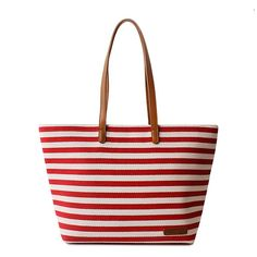 Retro Leisure Navy Style Strip Print Canvas Handbag