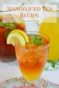 Mango Iced Tea recipe made with a simple syrup flavored with fresh mangoes via flouronmyface.com. This sweet iced tea recipe is perfect for all your summer drinks.