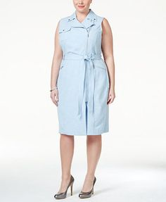 Calvin Klein Belted Asymmetrical-Zip Sheath Dress | macys.com