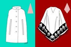 Ein Cape hat einen formenden Schnitt, strukturierende Details und formt die Silhouette eines Dreiecks. Der Poncho basiert auf einer rechteckigen Form und bildet am Körper eine Diamant-Silhouette.