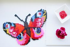 Sommerdeko aus #Bügelperlen - so einfach geht's. #hama #beads #butterfly #schmetterling #decoration #diy Foto: Julia Marre