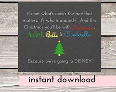 Surprise Trip to Disney Printable Card, Princess Vacation Reveal, Vacation Gifts, Disney Holiday, Disneyland, Christmas Trip Reveal Card