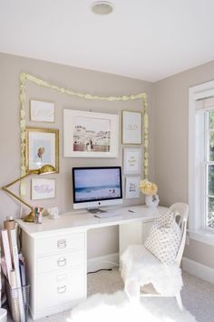 Cozy and light filled: http://www.stylemepretty.com/living/2015/03/19/30-of-the-prettiest-offices-ever/