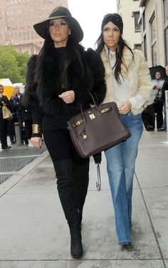 Kim Kardashian wearing Hermes So Black Birkin 35 Bag, Citizens of Humanity Avedon Slick Skinny Legging Jeans, American Apparel Baby Rib Long Sleeve Turtleneck, Hermes Birkin Handbag, Fendi Over-the-Knee Lace-Up Wedge Boot, Bird by Juicy Couture Bold-Shouldered Faux-Fur Jacket and Anda & Masha by Selima Stevie Hat in Chocolate with Ribbon Trim.
