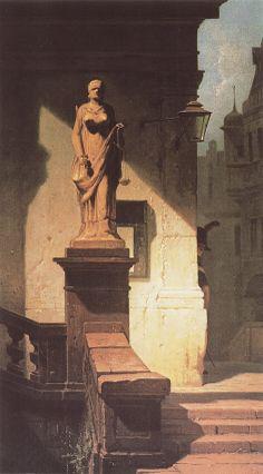 Carl Spitzweg (1808–1885), Das Auge des Gesetzes (Justitia), 1857, Öl auf Leinwand, 485x265 mm
