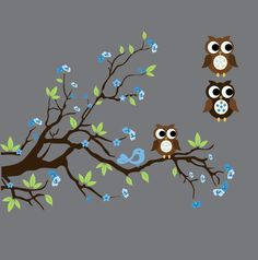 Baby Boys Wall Decals Nursery Branch Tree Decal with Flowers, Birds and Owl. $49.99, via Etsy.