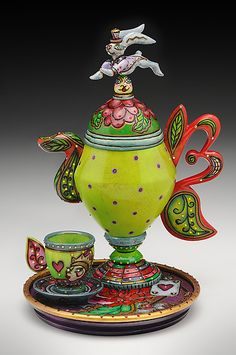 """""""Mad Hatters Tea"""" - Wood Teapot - Created by Janet O'Rourke"""