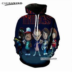 3e270cf3415 New Hip Hop Funny Streetwear TV Stranger Things 3D Printed Hoodies
