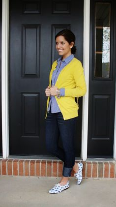 I love the pop of the cardigan! I also love how this looks super cute, but professional looking and comfy (I love love cardigans).