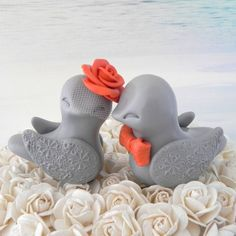 Lovebirds Wedding Cake Topper Grey and Orange Bride by LavaGifts