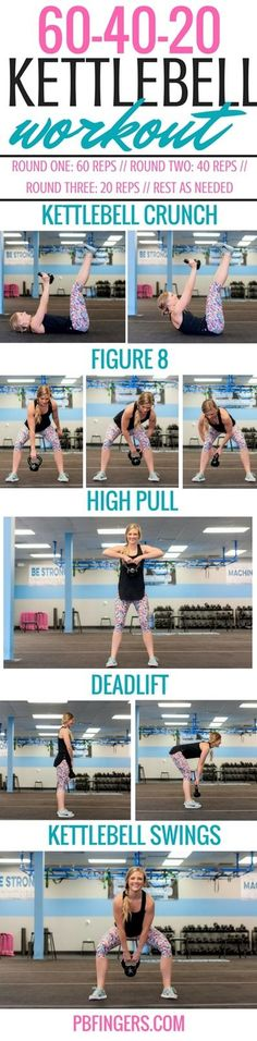 60-40-20 Kettlebell Workout http://www.pbfingers.com/60-40-20-kettlebell-workout/ A decreasing reps kettlebell workout that works the whole body.