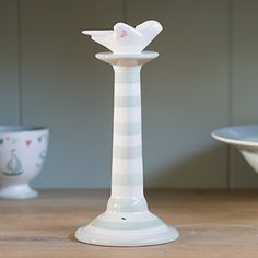 A tall candlestick, perfect for displaying our dinner candles. Hand-painted in a pretty honey bee design. Zoes Kitchen, Susie Watson, Bee Design, Honey Bees, Classic Interior, Easter Table, Candlesticks, Lanterns, Candle Holders