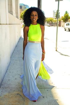 yellow neon top with grey sweater maxi skirt and gold belt