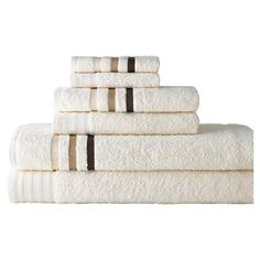 6-Piece Jami Towel Set in Ivory Bring hotel-worthy luxury to your master bath with this Egyptian cotton towel set, showcasing a chic ivory hue and classic stripes.