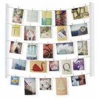 Umbra Hangit Photo Display - DIY Picture Frames Collage Set Includes Picture Hanging Wire Twine Cords, Natural Wood Wall Mounts and Clothespin Clips for Hanging Photos, Prints and Artwork (White) Collage Foto, Collage Frames, Exposition Photo, Photo Wall Decor, Photocollage, 6 Photos, Hang Photos, Hang Pictures, Frame Display