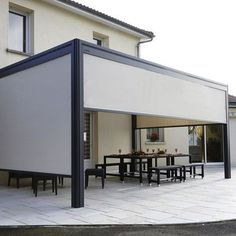 The wooden pergola is a good solution to add beauty to your garden. If you are not ready to spend thousands of dollars for building a cozy pergola then you may devise new strategies of trying out something different so that you can re House, Modern Blinds, Blinds Design, Roller Blinds, House Blinds, Wooden Pergola, Outdoor Blinds
