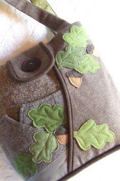 Oak Leaves and Acorns Repurposed Wool Blazer Bag by PineBlossoms