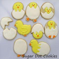 Sugar Dot Cookies: Chicks Hatching Sugar Cookies
