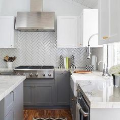 White and Charcoal Gray Kitchen with Chevron Runner