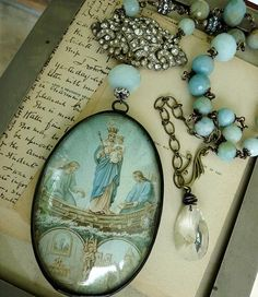 Antique French Virgin Mary Assemblage Necklace, Ave Maria Regina, by RusticGypsyCreations