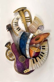 Musical Instruments Collage Metal Wall Sculpture - Music Metal Wall Art.