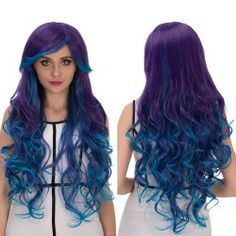 Synthetic None-lacewigs Hair Extensions & Wigs Cosplay Wig Fei-show Synthetic Heat Resistant Fiber Long Curly Inclined Bangs Hair Women Halloween Costume Cos-play Hairpiece Neither Too Hard Nor Too Soft