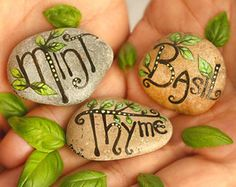 Set of three hand-painted stones with herb names and leaves nature inspired decor herb markers decorative stones botanical gift painted rock # Garden Crafts, Garden Projects, Garden Art, Garden Design, Garden Ideas, Herb Markers, Garden Markers, Plant Markers, Painted Garden Rocks