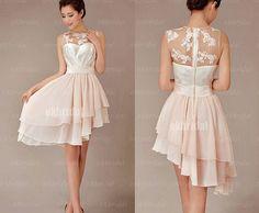 Lace bridesmaid dress champagne bridesmaid dress cheap by okbridal, $120.00