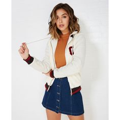 Sm Clothing Inc.  Faux Fur Varsity Jacket With Striped Trim ($34) ❤ liked on Polyvore featuring outerwear, jackets, ivory, wet seal, varsity jacket, hooded letterman jacket, fake fur jacket, ivory faux fur jacket and varsity bomber jacket