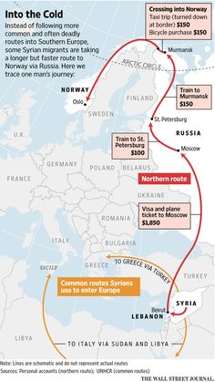 This map is showing one man's journey to safety from the violence of Syria. Many refugees take the more dangerous route by piling in boats to Italy or Greece. One man found that it was more expensive, but safer to fly to Moscow, Russia, then take a few trains until he ended up in Oslo, Norway. It is a long route but it is safer than piling in a small boat and sailing into the sea.