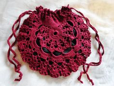 Burgundy Red Scarlet Lace Crochet Purse Handbag by Scarletrabbit